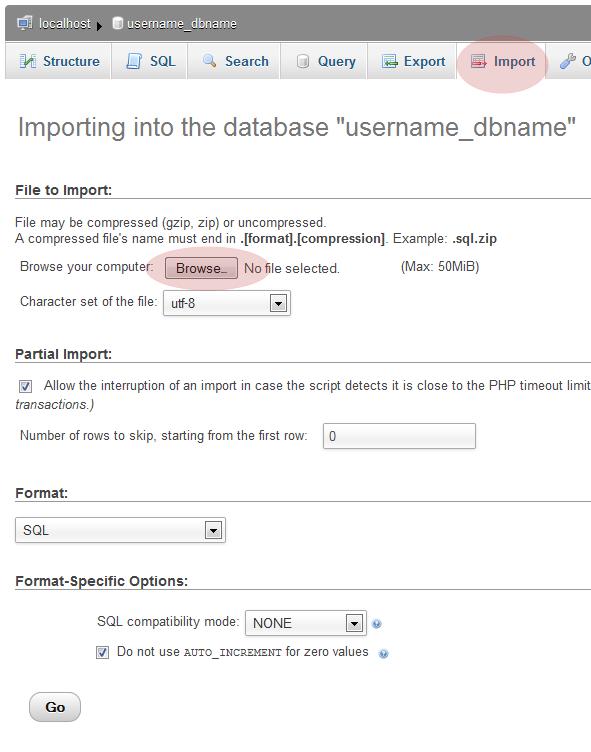 phpMyAdmin Database Import